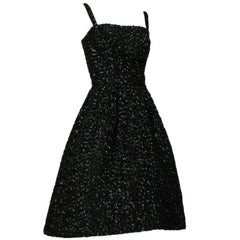 Black *Larger Size* Pavé Sequin Starry Night Sleeveless Circle Dress - M, 1950s