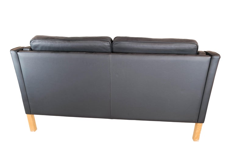 Black Leather 2 Seater Sofa with Legs of Oak, Manufactured by Stouby Furniture For Sale 4
