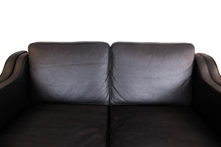 Scandinavian Modern Black Leather 2 Seater Sofa with Legs of Oak, Manufactured by Stouby Furniture For Sale