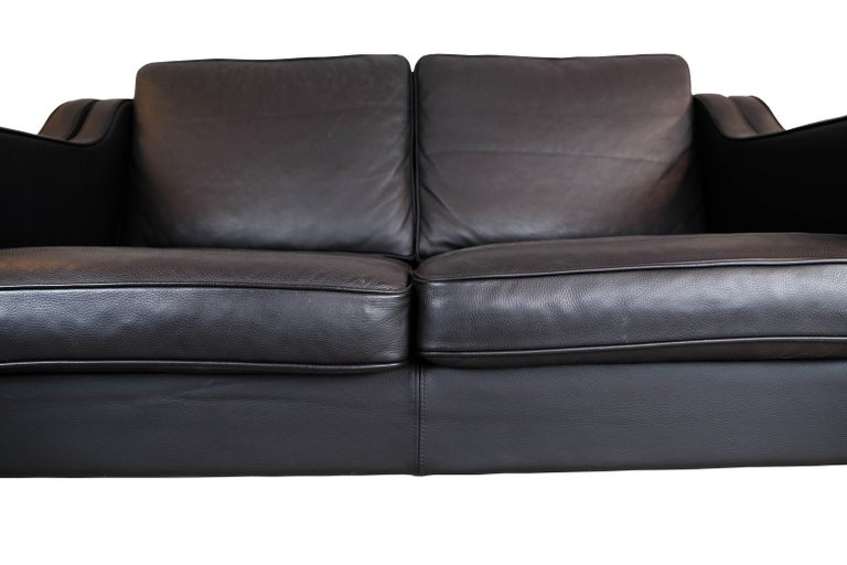 Danish Black Leather 2 Seater Sofa with Legs of Oak, Manufactured by Stouby Furniture For Sale