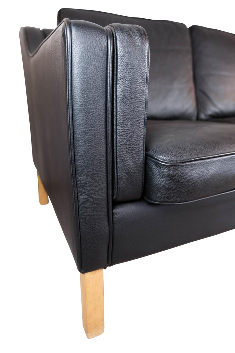 Mid-20th Century Black Leather 2 Seater Sofa with Legs of Oak, Manufactured by Stouby Furniture For Sale