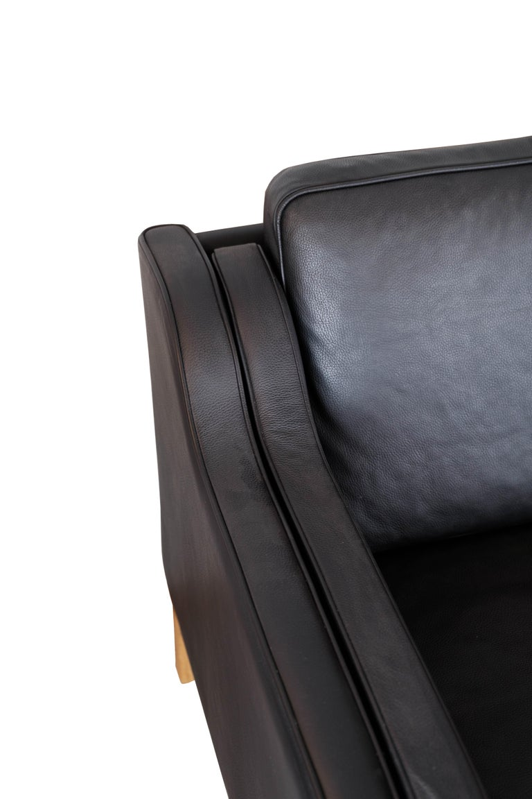 Black Leather 2 Seater Sofa with Legs of Oak, Manufactured by Stouby Furniture For Sale 1