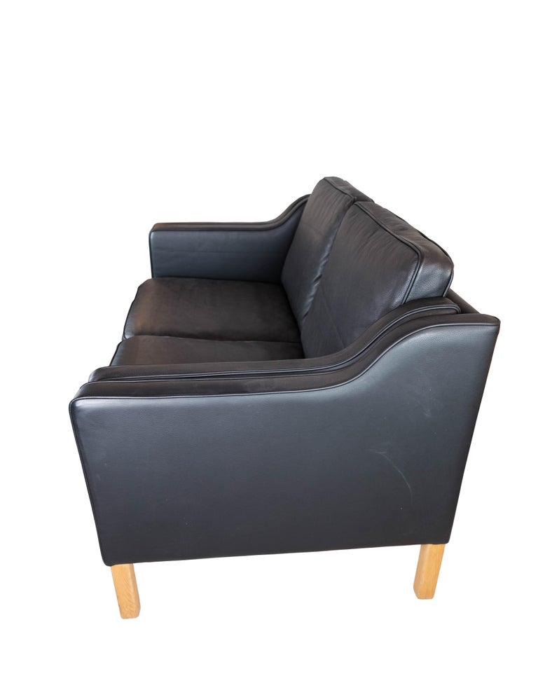 Black Leather 2 Seater Sofa with Legs of Oak, Manufactured by Stouby Furniture For Sale 2