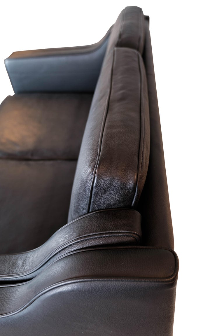 Black Leather 2 Seater Sofa with Legs of Oak, Manufactured by Stouby Furniture For Sale 3
