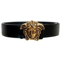 BLACK LEATHER 3D AGED GOLD MEDUSA MEDALLION Belt 115/46