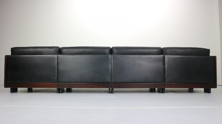 Black Leather 4-Seat Sofa by Afra & Tobia Scarpa for Cassina Model 920, 1960s For Sale 6