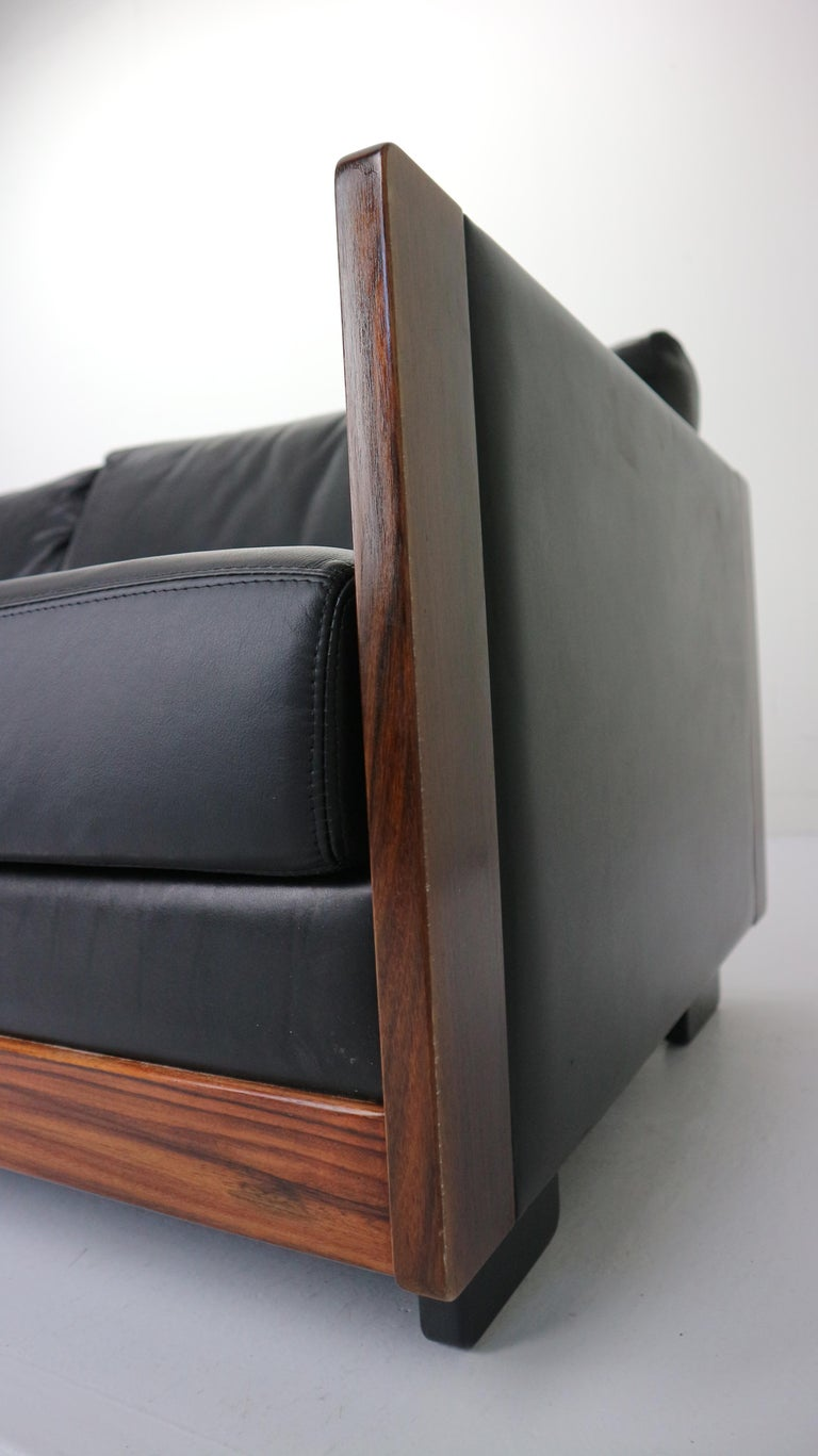 Black Leather 4-Seat Sofa by Afra & Tobia Scarpa for Cassina Model 920, 1960s For Sale 11