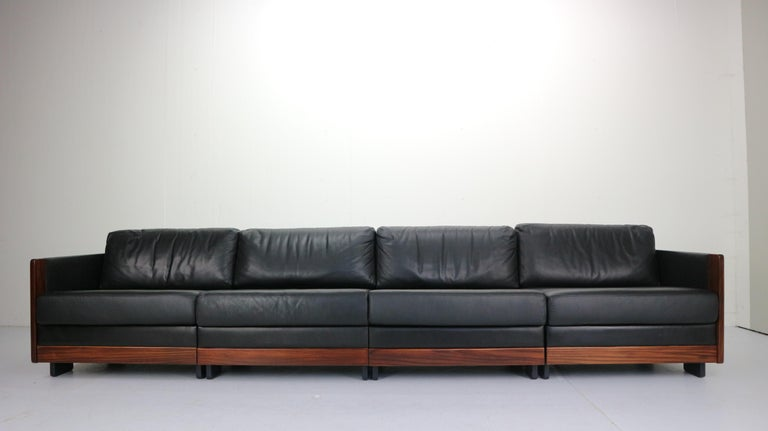 Italian Black Leather 4-Seat Sofa by Afra & Tobia Scarpa for Cassina Model 920, 1960s For Sale