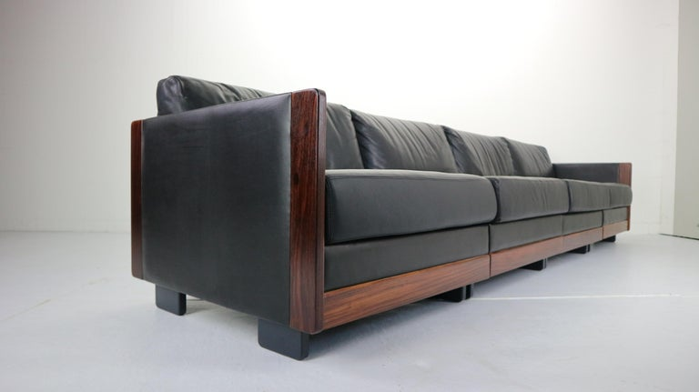 Mid-20th Century Black Leather 4-Seat Sofa by Afra & Tobia Scarpa for Cassina Model 920, 1960s For Sale