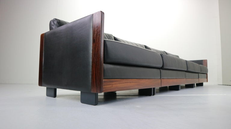 Black Leather 4-Seat Sofa by Afra & Tobia Scarpa for Cassina Model 920, 1960s For Sale 1