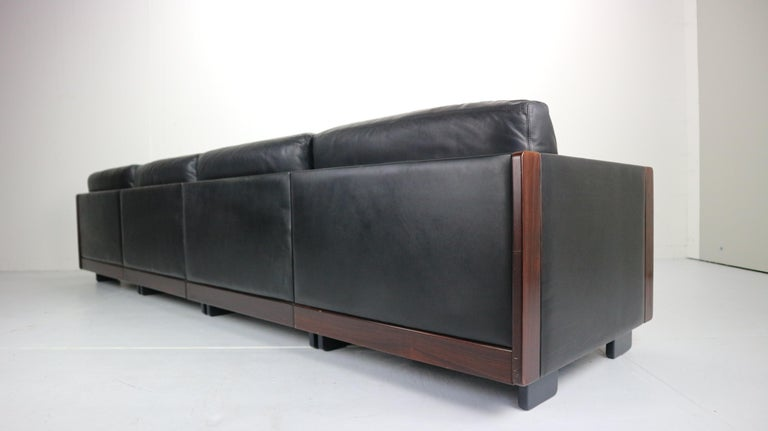 Black Leather 4-Seat Sofa by Afra & Tobia Scarpa for Cassina Model 920, 1960s For Sale 3