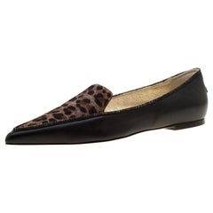 Black Leather And Brown Leopard Print Pony Hair Paloma Pointed Toe Flats Size 38