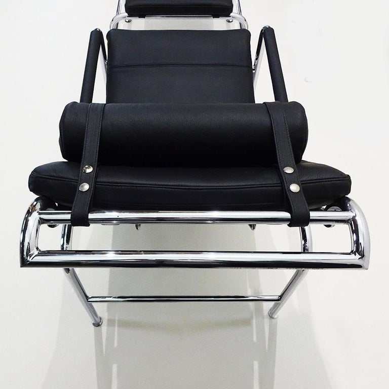 Black Leather and Chrome Gabriele Mucchi Genni Reclining Chairs and Ottomans For Sale 1