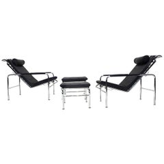 Black Leather and Chrome Gabriele Mucchi Genni Reclining Chairs and Ottomans