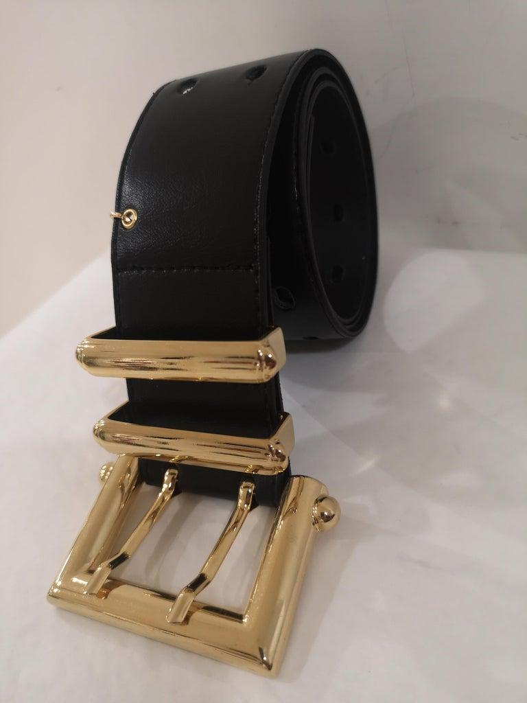 Black leather and gold hardware belt NWOT For Sale 2