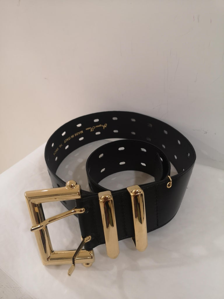 Black leather and gold hardware belt NWOT For Sale 3