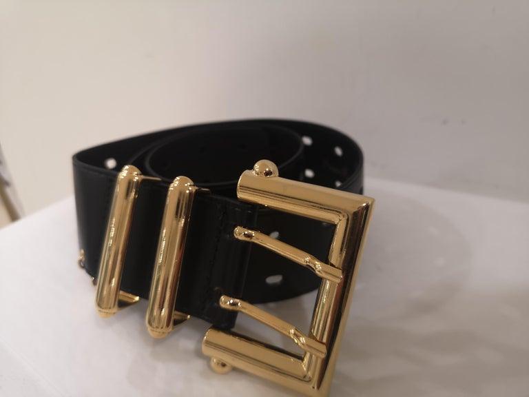 Black leather and gold hardware belt NWOT For Sale 4