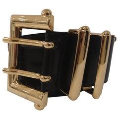 Black leather and gold hardware belt NWOT