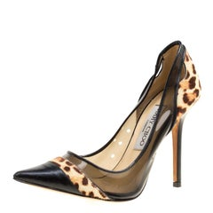 Black Leather and Leopard Print Pony Hair Binnis Pointed Toe Pumps Size 35