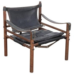 Black Leather and Oak Safari Chair by Arne Norell for Norell AB