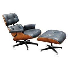Black Leather and Rosewood Herman Miller Eames Lounge Chair and Ottoman