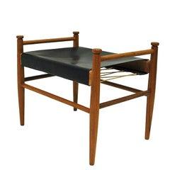 Black Leather and Teak Footstool by Gillis Lundgren for Ikea, 1960s, Sweden