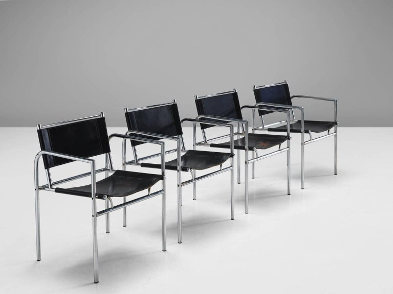 Mid-Century Modern Black Leather and Tubular Steel Armchairs For Sale