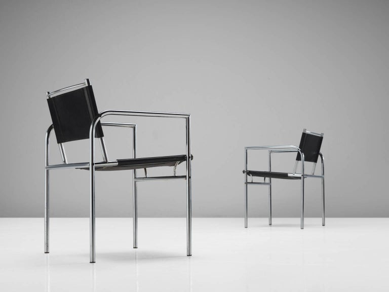 Black Leather and Tubular Steel Armchairs In Good Condition For Sale In Waalwijk, NL