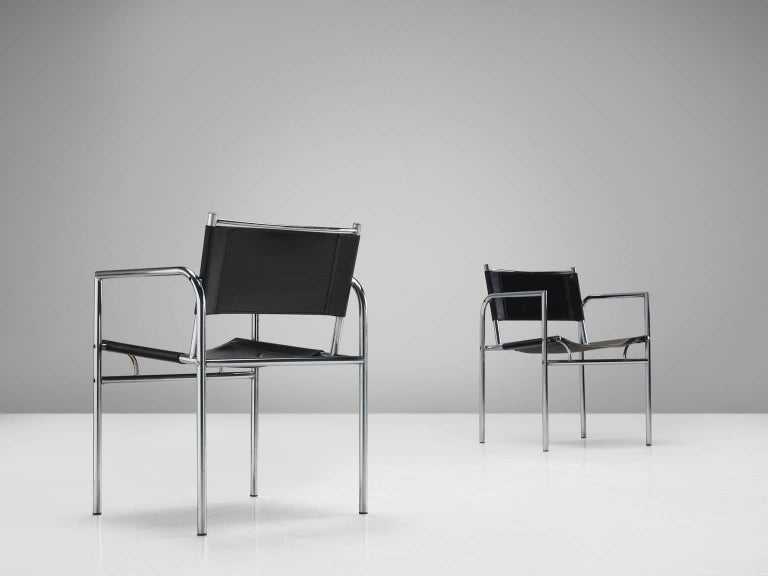 Mid-20th Century Black Leather and Tubular Steel Armchairs For Sale