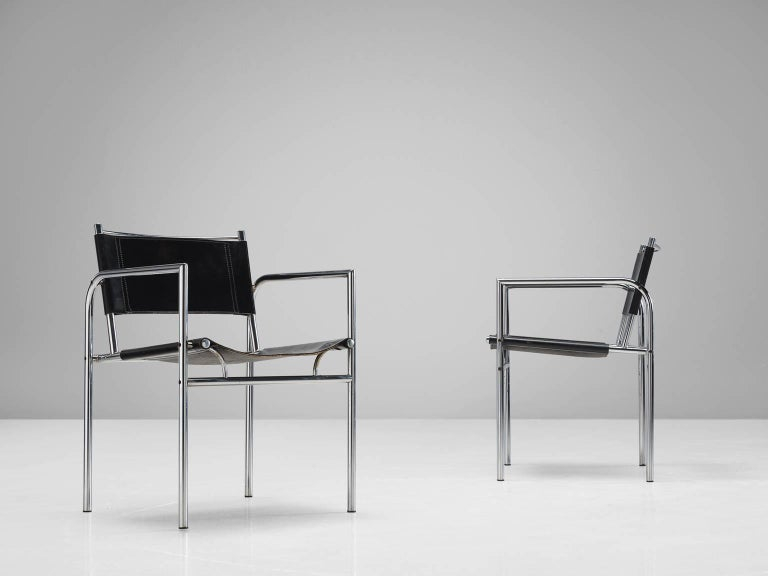Black Leather and Tubular Steel Armchairs For Sale 1