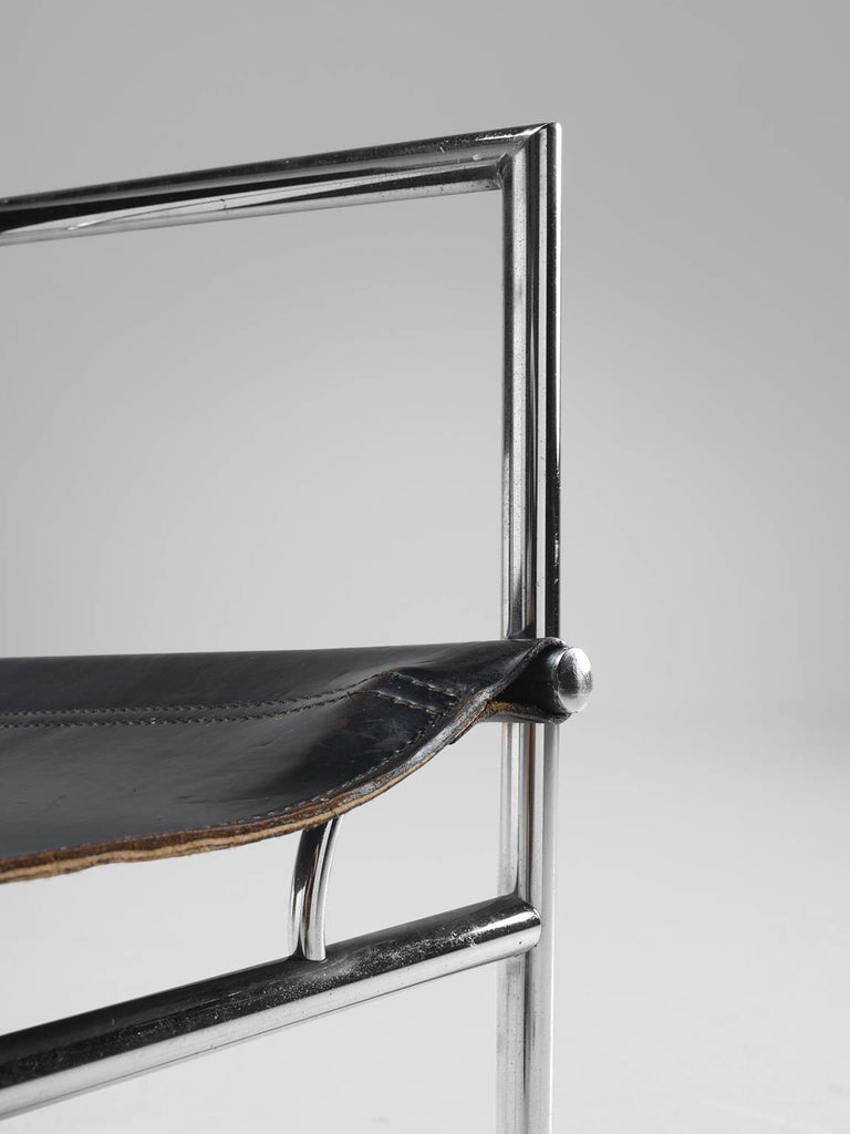 Black Leather and Tubular Steel Armchairs For Sale 2