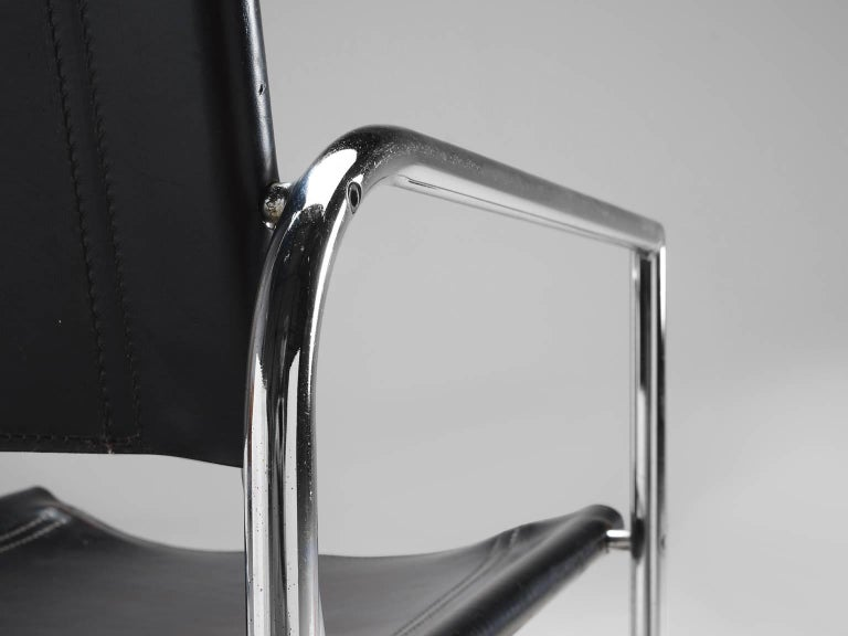 Black Leather and Tubular Steel Armchairs For Sale 3
