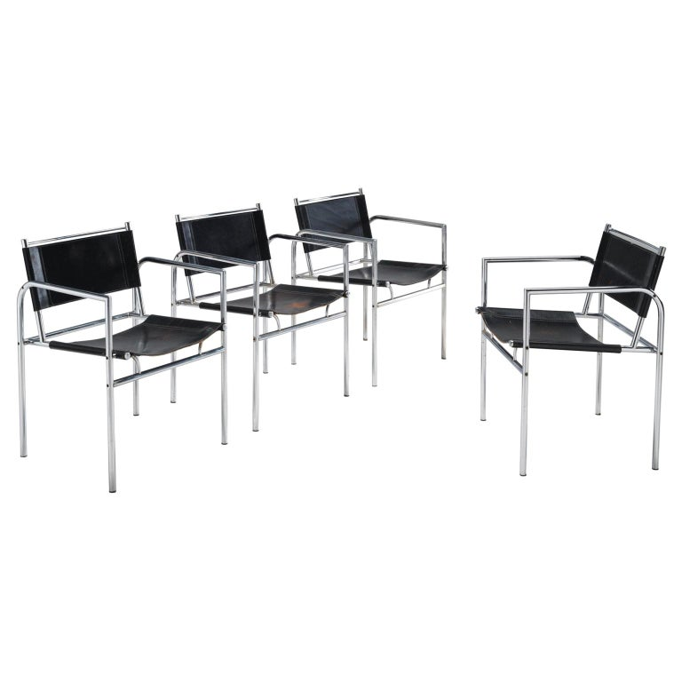 Black Leather and Tubular Steel Armchairs For Sale