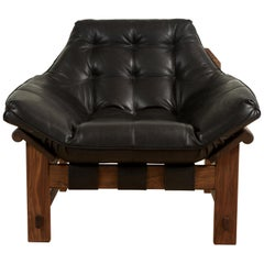 Black Leather and Walnut Ojai Lounge Chair by Lawson-Fenning