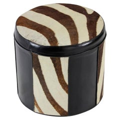 Black Leather and Zebra Patterned Cow Hide Hassock or Foot Stool