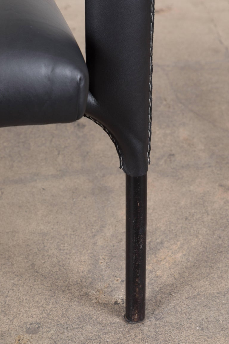 Mid-Century Modern Black Leather Armchair by Jacques Adnet For Sale