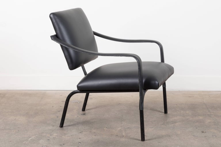 Black Leather Armchair by Jacques Adnet In Excellent Condition For Sale In Los Angeles, CA