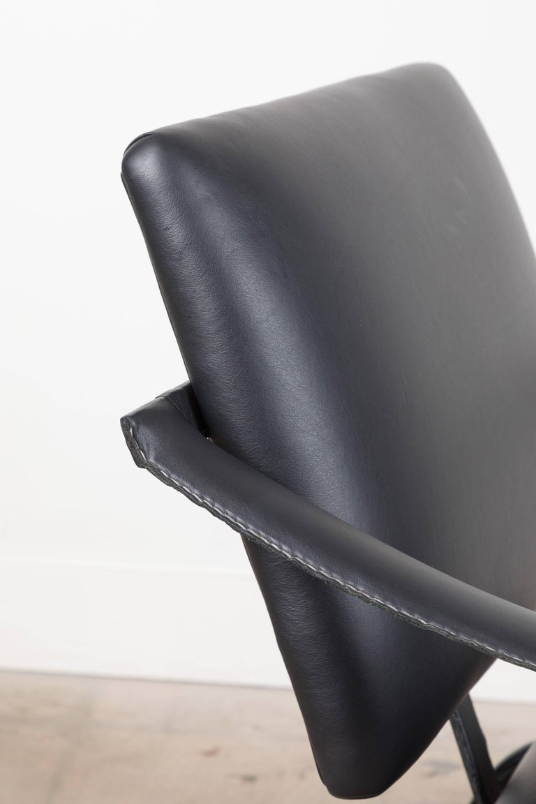 Mid-20th Century Black Leather Armchair by Jacques Adnet For Sale