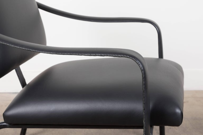 Black Leather Armchair by Jacques Adnet For Sale 1