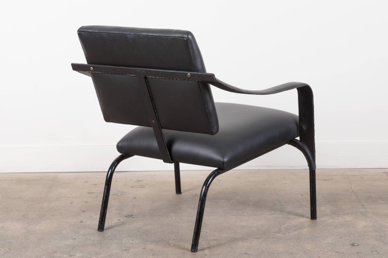 Black Leather Armchair by Jacques Adnet For Sale 2
