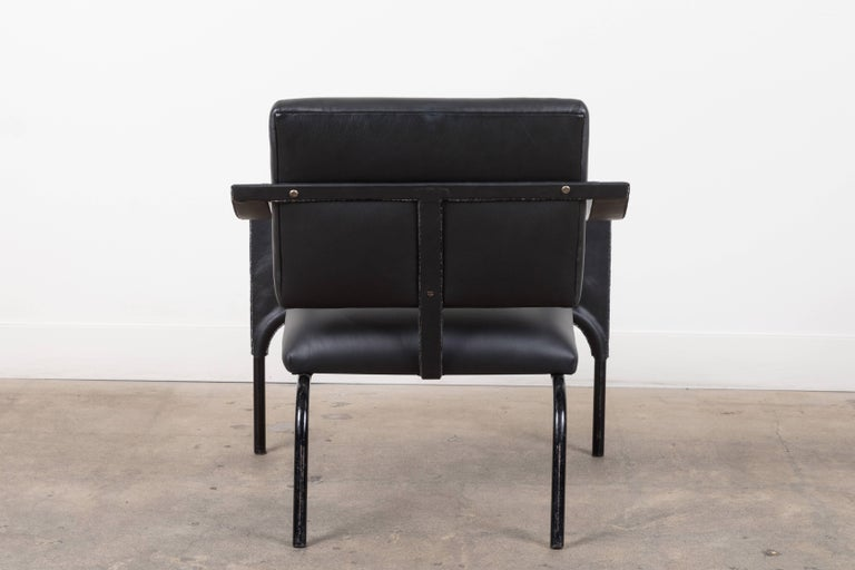 Black Leather Armchair by Jacques Adnet For Sale 3