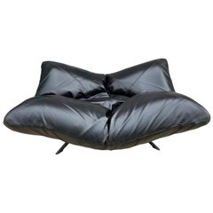 Black Leather Articulating Corner Ribalta Daybed Sofa Forbicini for Arflex Italy