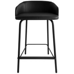 In Stock in Los Angeles, Black Leather Bar Stool by Marco Zito, Made in Italy