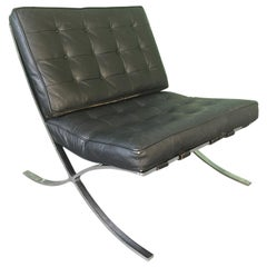 Black Leather Barcelona Chair After Ludwig Mies van der Rohe