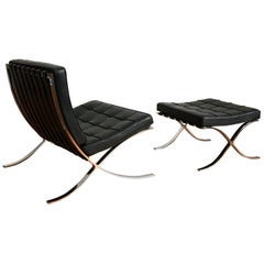 Black Leather Barcelona Chair and Ottoman by Mies Van Der Rohe for Knoll