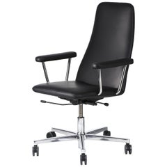 Johanson Black Leather Bella Swivel Office Armchair