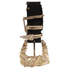 Black leather belt gold hardware and swarovski stones