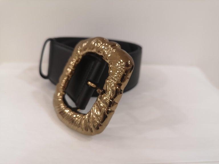 Women's or Men's Black Leather bronze gold hardware belt NWOT For Sale