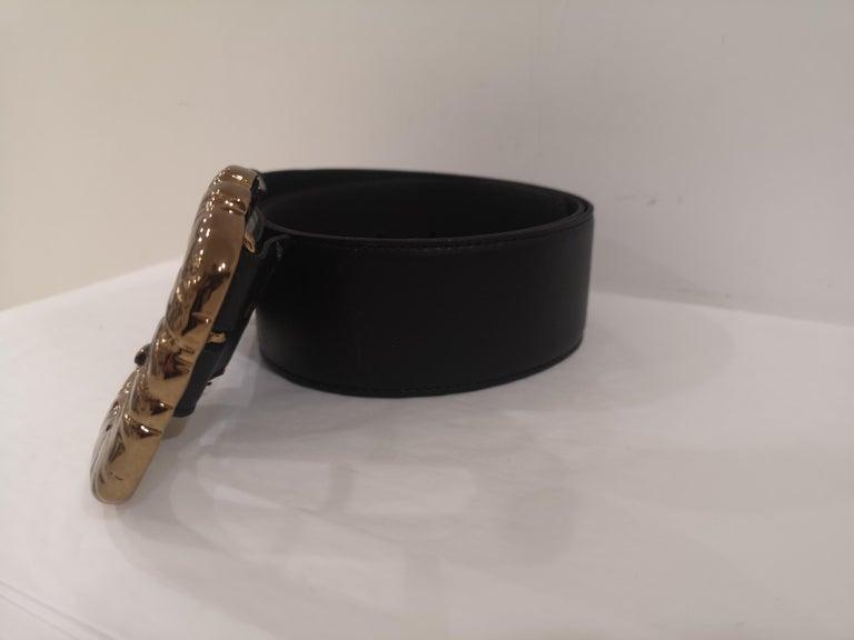 Black Leather bronze gold hardware belt NWOT For Sale 1