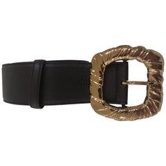 Black Leather bronze gold hardware belt NWOT